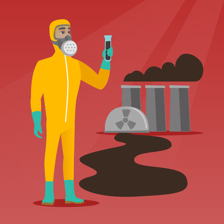 Caucasian man in radiation protective suit holding test-tube. Scientist in radiation protective suit standing on the background of nuclear power plant. Vector flat design illustration. Square layout. Illustration