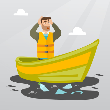 man looking out: Sanitation worker floating in a boat and catching garbage out of water. Man clutching head while looking at polluted water. Water pollution concept. Vector flat design illustration. Square layout.