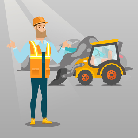 Worker of rubbish dump standing with spread arms. Man standing on the background of rubbish dump and bulldozer. Upset caucasian worker of rubbish dump. Vector flat design illustration. Square layout. 向量圖像