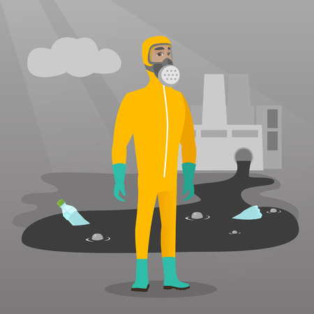 biohazard: Caucasian man in gas mask and radiation protective suit standing on the background of nuclear power plant. Scientist wearing radiation protection suit. Vector flat design illustration. Square layout.