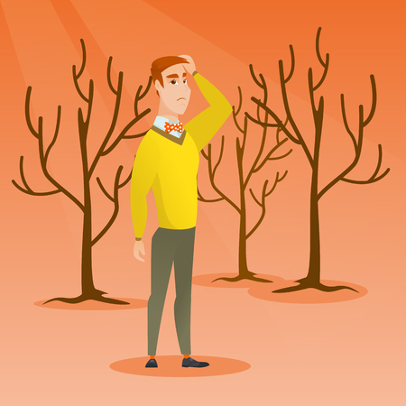 Caucasian man scratching head on the background of dead forest. Dead forest caused by global warming or wildfire. Concept of environmental destruction. Vector flat design illustration. Square layout.