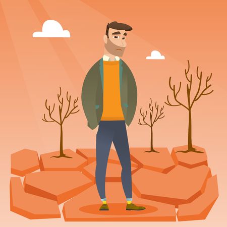 dead tree: Caucasian hipster man standing in the desert. Frustrated young man standing on cracked earth in the desert. Concept of climate change and global warming. Vector flat design illustration. Square layout Illustration