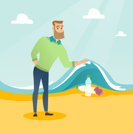 Caucasian man showing plastic bottles under water of sea. Man collecting plastic bottles from water. Water pollution and plastic pollution concept. Vector flat design illustration. Square layout. Illustration