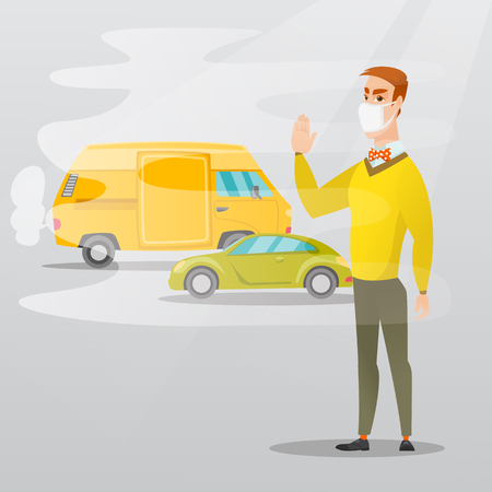 Man standing on the background of car with traffic fumes. Man wearing mask to reduce the effect of traffic pollution. Concept of toxic air pollution. Vector flat design illustration. Square layout. 矢量图像