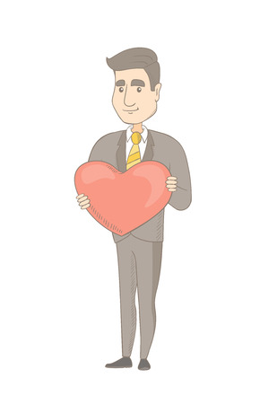Caucasian businessman showing a big heart. Full length of young businessman with heart shape. Happy businessman holding a red heart. Vector sketch cartoon illustration isolated on white background.