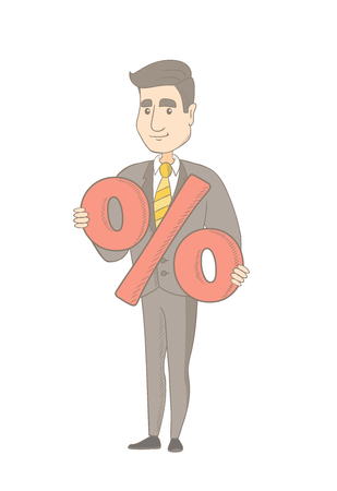 Caucasian businessman holding percent sign. Full length of young cheerful businessman holding percent sign. Vector sketch cartoon illustration isolated on white background.