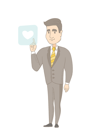 Young caucasian businessman pressing web button with heart. Full length of smiling businessman pressing social media icon with heart. Vector sketch cartoon illustration isolated on white background. Ilustração