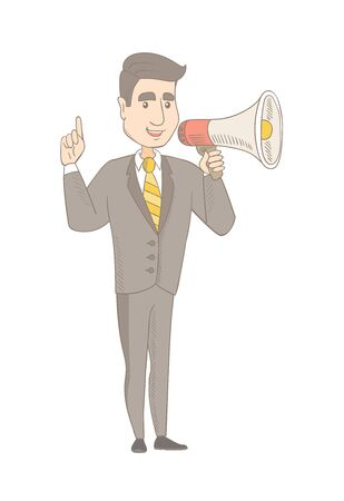 Caucasian businessman with loudspeaker making an announcement. Young businessman making an announcement through a loudspeaker. Vector sketch cartoon illustration isolated on white background.