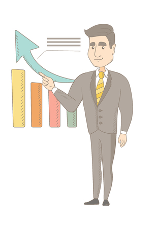 Caucasian successful businessman pointing at chart going up. Young businessman satisfied by business success. Business success concept. Vector sketch cartoon illustration isolated on white background.