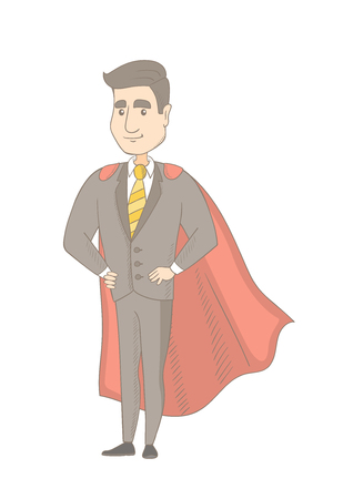 Caucasian businessman wearing a red superhero cloak. Full length of successful businessman dressed as a superhero in a red cloak. Vector sketch cartoon illustration isolated on white background.