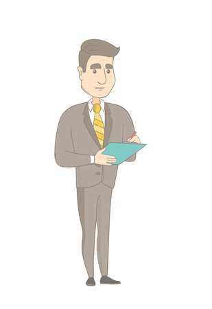 Young caucasian businessman holding clipboard and taking some notes. Smiling businessman writing on clipboard. Vector sketch cartoon illustration isolated on white background.