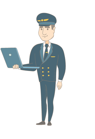 Young caucasian airplane pilot in uniform using a laptop. Airplane pilot working on a laptop. Cheerful pilot holding a laptop. Vector sketch cartoon illustration isolated on white background.