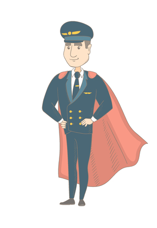 Caucasian airplane pilot wearing red superhero cloak. Young pilot dressed as superhero. Powerful pilot superhero in red cloak. Vector sketch cartoon illustration isolated on white background. Illustration