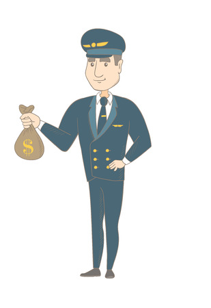Young caucasian airplane pilot showing money bag with dollar sign. Airplane pilot holding money bag. Vector sketch cartoon illustration isolated on white background.