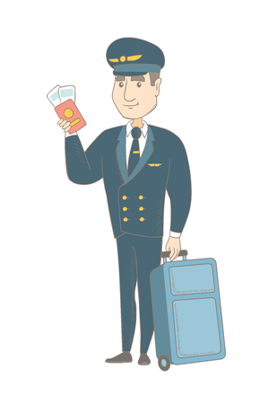 Young caucasian steward in uniform showing passport and airplane ticket. Steward holding passport with airplane ticket and suitcase. Vector sketch cartoon illustration isolated on white background.