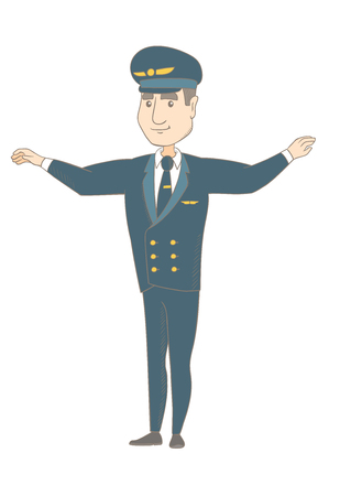 Young caucasian airplane pilot with arms outstretched. Full length of happy pilot in uniform gesturing his outstretched arms as a plane. Vector sketch cartoon illustration isolated on white background