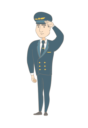 Caucasian airplane pilot in uniform gives salute. Young airplane pilot saluting. Pilot with a serious facial expression saluting. Vector sketch cartoon illustration isolated on white background. Illustration