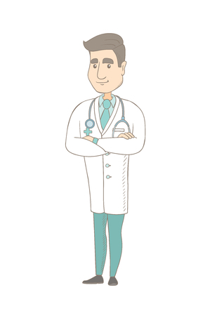 arms folded: Young caucasian confident doctor with folded arms. Full length of doctor with folded arms standing in a pose signifying confidence. Vector sketch cartoon illustration isolated on white background.