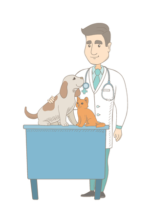 Caucasian veterinarian examining pets in hospital. Young veterinarian doctor with pets at vet clinic. Concept of medicine and pet care. Vector sketch cartoon illustration isolated on white background. Illustration