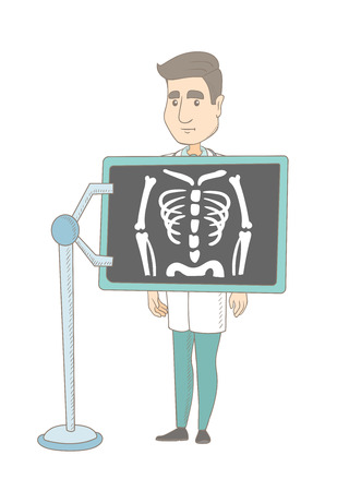 Young caucasian roentgenologist doctor during chest x ray procedure. Roentgenologist doctor with x ray screen showing her skeleton. Vector sketch cartoon illustration isolated on white background.