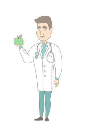 Caucasian nutritionist prescribing diet and healthy eating. Young smiling nutritionist holding an apple. Nutritionist offering an apple. Vector sketch cartoon illustration isolated on white background Illustration