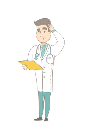 Confused caucasian doctor in medical gown scratching head while reading documents in clipboard. Young thoughtful doctor scratching head. Vector sketch cartoon illustration isolated on white background