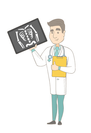 radiograph: Caucasian doctor examining radiograph. Young doctor in medical gown looking at chest radiograph. Doctor observing skeleton radiograph. Vector sketch cartoon illustration isolated on white background. Illustration