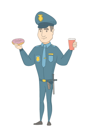 Caucasian policeman in uniform eating doughnut and drinking coffee. Young policeman with doughnut and cup of coffee in hands. Vector sketch cartoon illustration isolated on white background. Illustration
