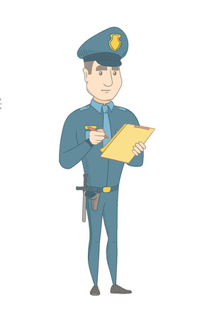 Caucasian traffic policeman in blue uniform writing a fine bill. Young traffic policeman writing a penalty. Concept of traffic security. Vector sketch cartoon illustration isolated on white background Illustration
