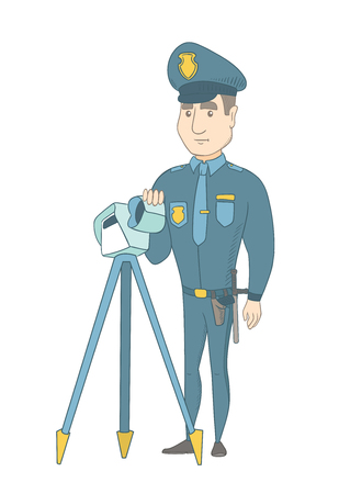 penalty: Caucasian police officer controlling driving speed with a radar. Young police officer with a radar for traffic speed control. Vector sketch cartoon illustration isolated on white background.