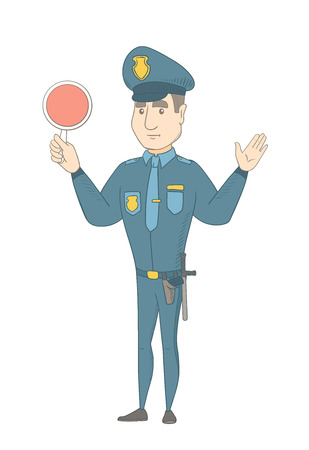 Caucasian traffic holding a traffic sign and showing stop hand gesture. Young traffic policeman directing cars with a signal paddle. Vector sketch cartoon illustration isolated on white background. Illustration