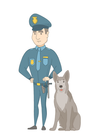 Caucasian police officer standing near police dog. Full length of young serious police officer with his dog. Vector sketch cartoon illustration isolated on white background.