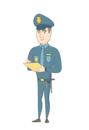 白人の交通警官はドライバーの罰金請求書を書きます。チケットを書く若い交通警官。ベクター スケッチ漫画イラスト白背景に分離します。