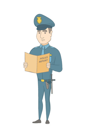 penalty: Caucasian police officer holding a police report in hands. Full length of young serious police officer reading a police report. Vector sketch cartoon illustration isolated on white background.