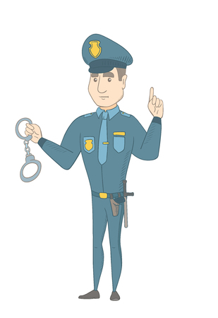 Caucasian policeman holding handcuffs and pointing his finger up. Full length of young policeman with finger pointing up. Vector sketch cartoon illustration isolated on white background. Ilustração