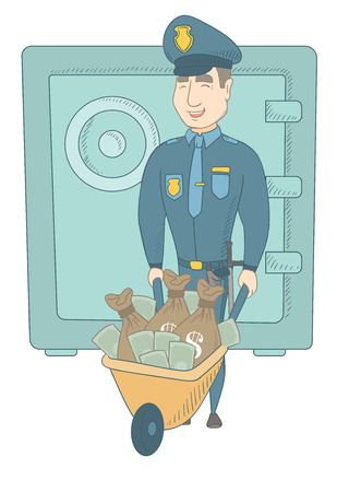 ensuring: Caucasian policeman pushing wheelbarrow with confiscated money. Policeman ensuring the safety of the confiscated money in the safe. Vector sketch cartoon illustration isolated on white background.