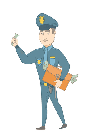 Young caucasian policeman walking with the briefcase full of money after receiving of a bribe. Bribery and crime concept. Vector sketch cartoon illustration isolated on white background.