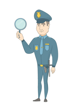 full length mirror: Caucasian policeman holding a hand mirror. Full length of young policeman showing a hand mirror. Happy policeman with a hand mirror. Vector sketch cartoon illustration isolated on white background.