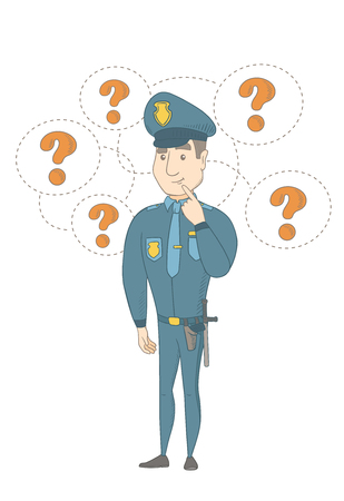 Caucasian policeman thinking. Young thinking policeman standing under question marks. Thinking policeman surrounded by question marks. Vector sketch cartoon illustration isolated on white background. 矢量图像