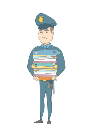 Caucasian policeman holding pile of folders and papers. Full length of young policeman with folders. Policeman with folders and files. Vector sketch cartoon illustration isolated on white background.