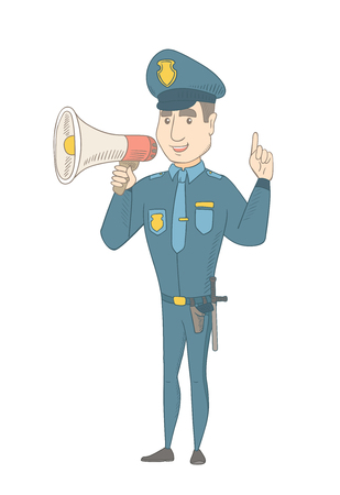 Caucasian policeman making an announcement with a loudspeaker. Full length of young policeman making announcement through a loudspeaker. Vector sketch cartoon illustration isolated on white background Illustration