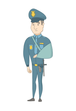 Injured caucasian policeman wearing an arm brace. Young policeman with broken arm in sling. Full length of policeman with injured arm. Vector sketch cartoon illustration isolated on white background.