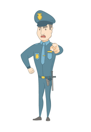 Young caucasian serious police officer in uniform showing on you. Full length of angry police officer pointing at you with a finger. Vector sketch cartoon illustration isolated on white background.
