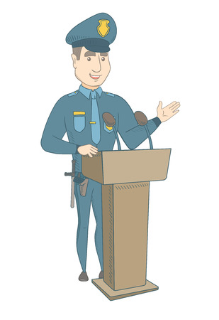 Caucasian policeman speaking to audience from the tribune. Policeman standing behind the tribune with microphones and giving a speech. Vector sketch cartoon illustration isolated on white background.