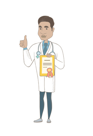 Hispanic doctor holding a certificate and giving thumb up. Young doctor in medical gown showing a certificate and thumb up. Vector sketch cartoon illustration isolated on white background. Illustration