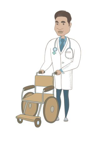 Hispanic doctor pushing an empty wheelchair. Full length of cheerful doctor standing near wheelchair. Young doctor with wheelchair. Vector sketch cartoon illustration isolated on white background. Vettoriali