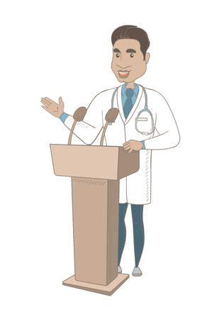 Hispanic doctor speaking to audience from the tribune. Young doctor giving a speech from the tribune with microphones. Vector sketch cartoon illustration isolated on white background. Illustration