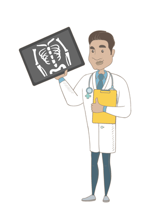 Hispanic doctor examining radiograph. Young doctor in medical gown looking at chest radiograph. Doctor observing skeleton radiograph. Vector sketch cartoon illustration isolated on white background.