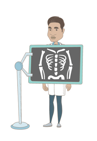 Young hispanic roentgenologist doctor during chest x ray procedure. Roentgenologist doctor with x ray screen showing his skeleton. Vector sketch cartoon illustration isolated on white background.