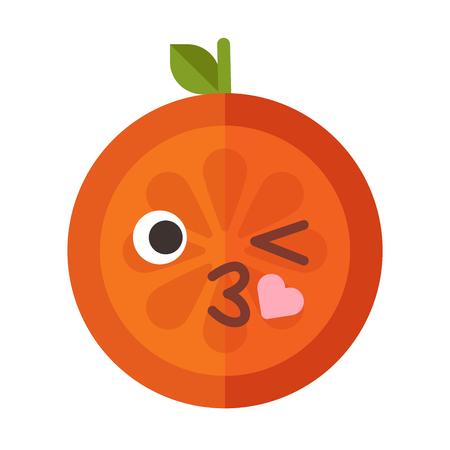 Kiss emoji. Kissing orange fruit emoji with heart. Vector flat design emoticon icon isolated on white background. Illustration